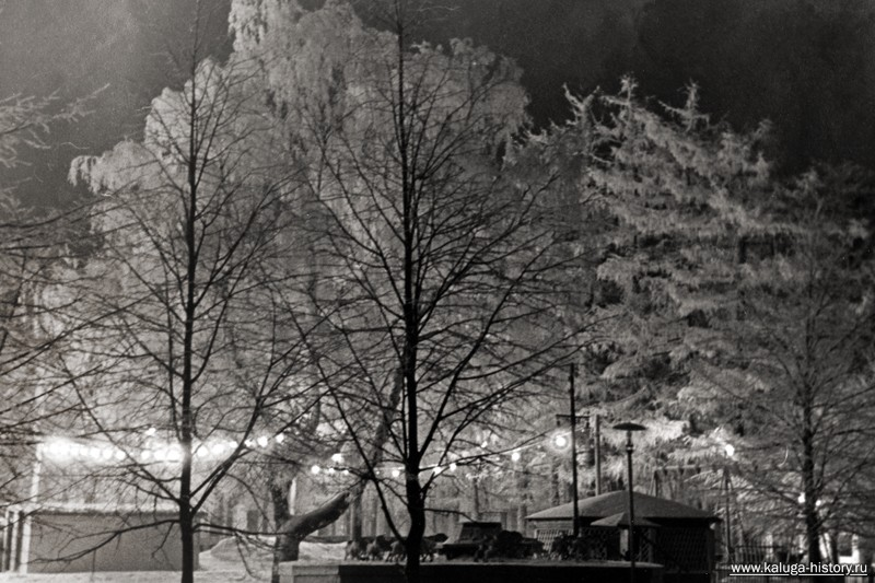 ночная калуга, парк, детская карусель